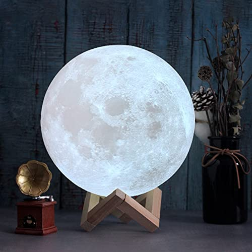 CPLA 3D Printed Moon Lamp Glowing 16 Color RGB LED Moon Light Dimmable Brightness Big Lava Moon Globe Light Decorative Light Up Moon Light Lighting Ball Lamp as Bedroom Gifts for Beloved One 7.1inch