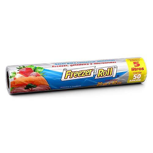 Saco para alimentos Freezer-Roll, 5 litros, transparente, rolo com 50 sacos cada
