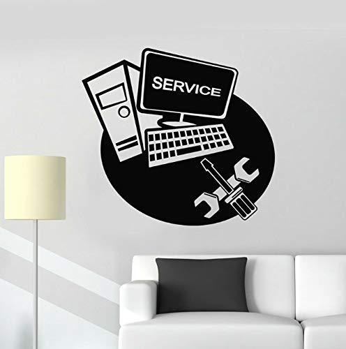 Computer Muur Sticker Laptop Service Reparatie Technologie Vinyl Raam Stickers Reparatie Tools Art Muurschildering Verwisselbare Interieur 57 X 62 Cm
