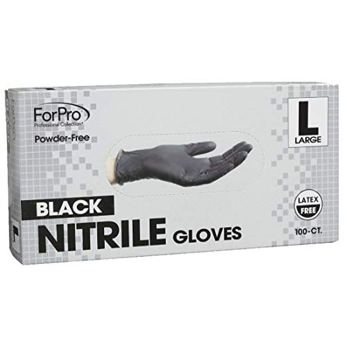 ForPro Black Nitrile Gloves, Powder-Free, Latex-Free, Non-Sterile, Food Safe, 5 Mil, Large, 100-Count