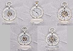 Set of 5 pocket watches of the Second World War depicting Spitfire + Messerschmitt + Hurricane + Losquito + FW190 - Normandy Landing 1944 Silver plated pocket watches are decorated with real World War II planes Each pocket watch features a painting b...