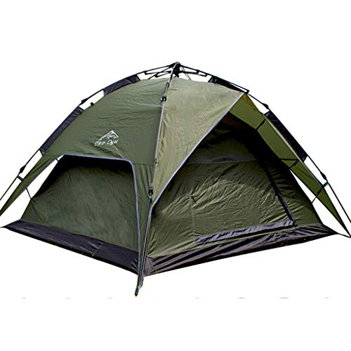 JINGQI Camping Tent 3~4 People Draw Rope Free Automatic Tent Double-Layer Double-Door Rainproof Travel Tent,Green