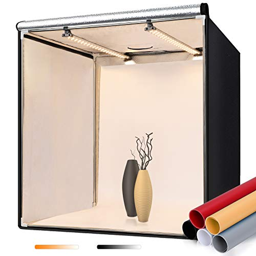 FOSITAN Fotostudio 60x60x60cm Bi-Color Dimmbare Lichtzelt mit 2X LED Beleuchtung, 5 Hintergründe (schwarz, weiß, rot, orange, grau) für Professionelle...
