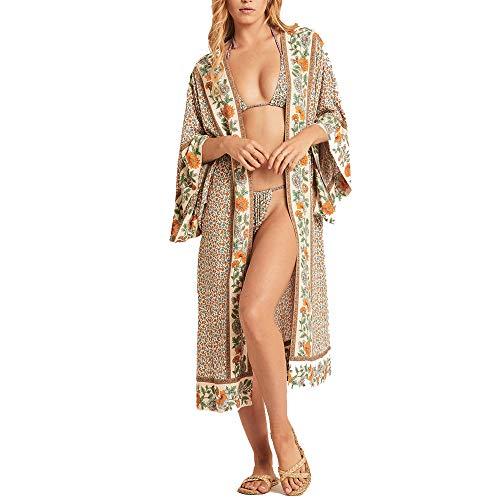 SIEBENEINSY Bañador de mujer bohemio para la playa, pareos, kimono, cárdigan, bata larga, blusa, bikini, capa vintage, traje de baño de verano Patrón1 Talla única
