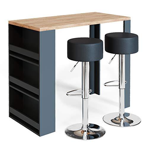 Vicco Bartisch Bar Weiß Anthrazit Tresen Bartresen Stehtisch Tisch Tresentisch Bistrotisch Küche mit 3 extra Fächern inkl. Barhocker (Eiche/Anthrazit)