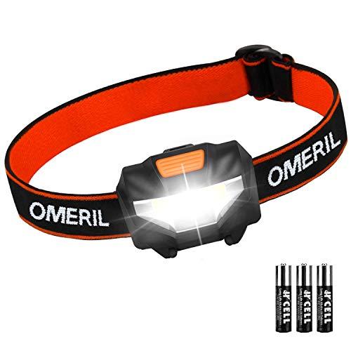 Luce Frontale LED, OMERIL Torcia Frontale Impermeabile con 3 Modalità di Illuminazione, Lampada da Testa per Running, Campeggio, Corsa, Speleologia, Arrampicata, Pesca, Leggere(3 AAA Batterie Incluse)
