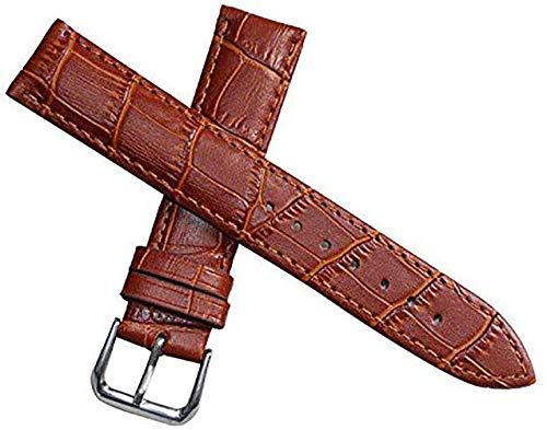 14mm Banda de luz de reemplazo de Correas de Reloj de Cuero marrón para Las Mujeres de Piel de Becerro de Grano Genuina de cocodrilo