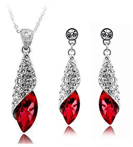 Signore-Signori Rojo Cristal Austriaco Juego de Joyas Collar Colgante Pendientes 18k Chapado en Oro Blanco