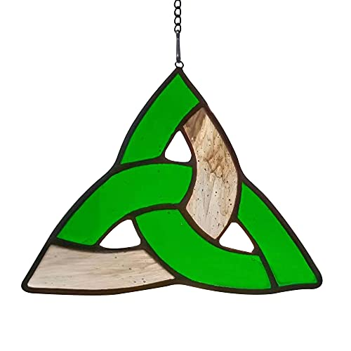 HAOSUM Celtic Trinity Knot Stained Glass Window Hanging Ornament Gift 4.7'×5.5'