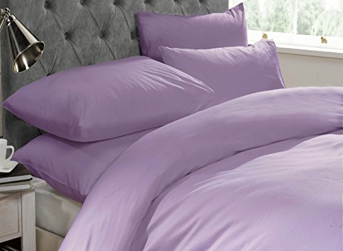 Starhomeware Plain Duvet Cover Set with Pillow Case Quilt Cover Bed Set in Sizes Single Double King Super King (King, Lilac)