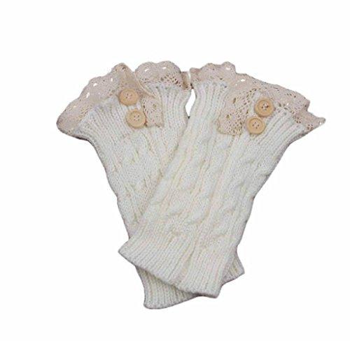 BakeLIN Damen Frauen Winter Warm Bowknot Crochet Gestrickte Draussen Strümpfe Beinwärmer Boot Plüsch Cover Trim Socken (Weiß)