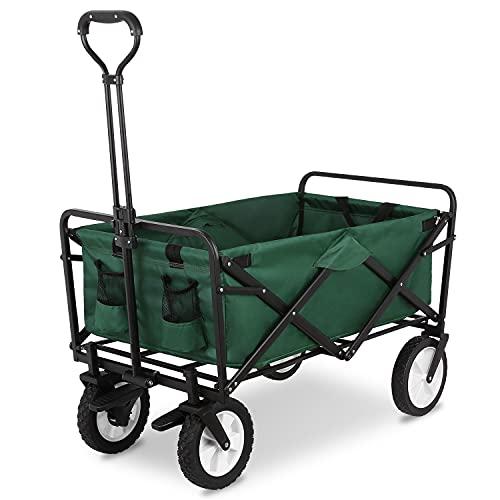 Chariot de Plage Charrette de Transport Pliable Remorque de Jardin Charrette à Bras avec Freins Charge (Vert)