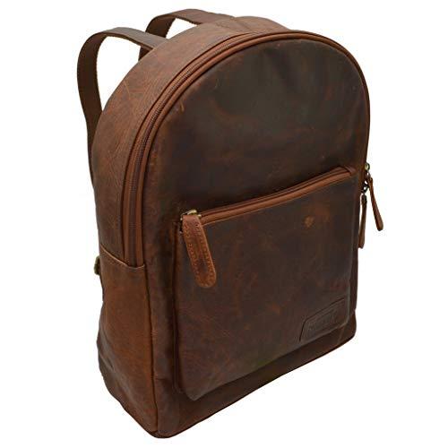 Echt Leder Rucksack Schultertasche Ledertasche Lederrucksack Vintage für Outdoor Retro Style (Hellbraun)