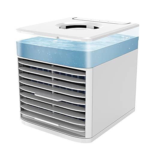 Enfriador de aire portátil, ventilador de refrigeración por evaporación USB, pequeño espacio personal, aire acondicionado y humidificador, enfriador de aire ventilador de escritorio (regular)