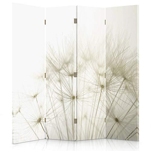 Feeby Frames. Raumteiler, Gedruckten auf Canvas, Leinwand Wandschirme, dekorative Trennwand, Paravent beidseitig, 4 teilig (145x150 cm), LÖWENZAHN, Natur, Pflanzen, WEIß