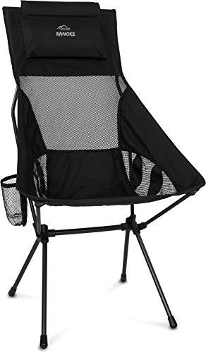 Ultraleichter Faltbarer Campingstuhl Reisestuhl Outdoorstuhl mit Langer Rückenlehne und Kissen Strandstuhl Anglerstuhl -nur 1272g! Traglast 150kg (330 lbs) Farbe Schwarz