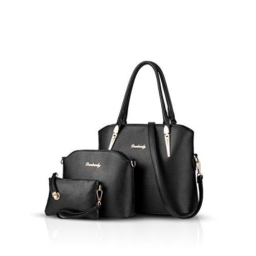 NICOLE & DORIS Handtaschen Damen 3 Stück Handtasche für Damen Totes Taschen Umhängetaschen Schultertaschen Schwarz