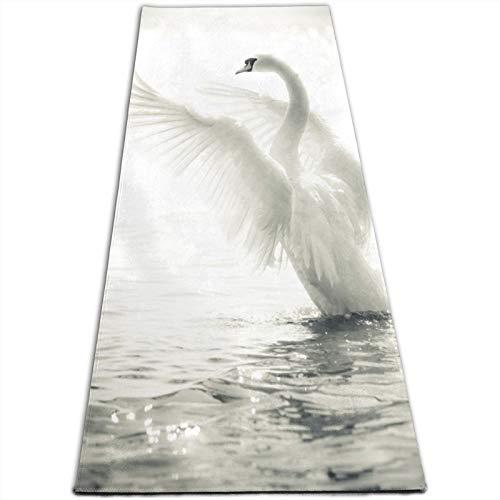 KASABULL Esterilla Yoga Elegante cisne en un lago en blanco y negro Colchonetas de ejercicio Pilates para entrenamiento en casa Gimnasio Fitness Meditación Alfombra