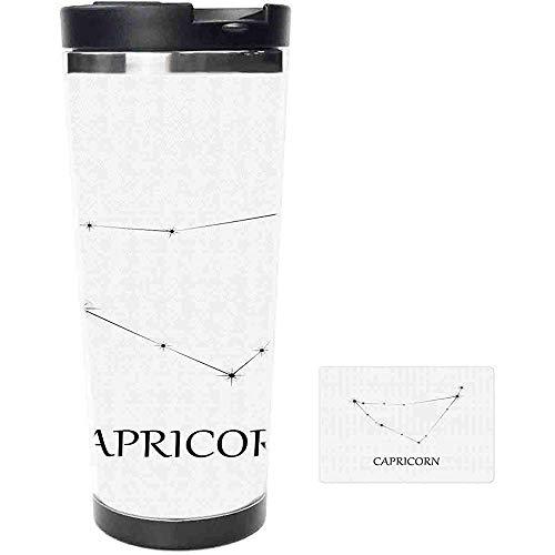 Travel Mug-Steinbock Sternbild mit ausgerichteten Sternen Astronomische Elemente Edelstahl Kaffeetasse & Tasse-Thermotasse mit spritzwassergeschütztem Schiebedeckel-14 Unzen