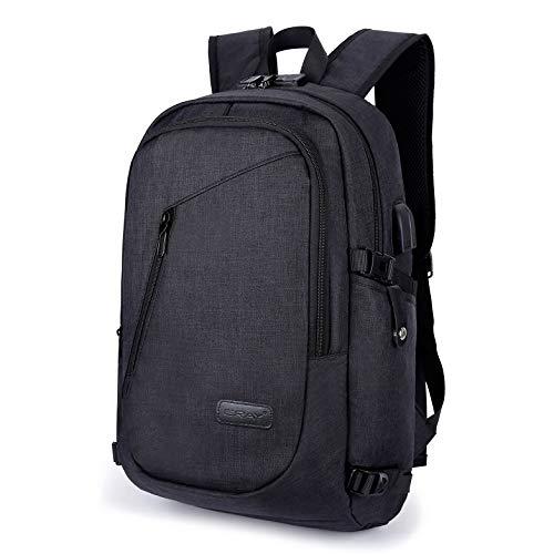ERAY Schulrucksack Laptop Rucksack mit USB Ladeport Kopfhöreranschluss und Anti-Diebstahl Schloß für Business, Reisen Camping, Schultasche Wasserdicht Gilt 16 Zoll Laptop, 23L, Schwarz