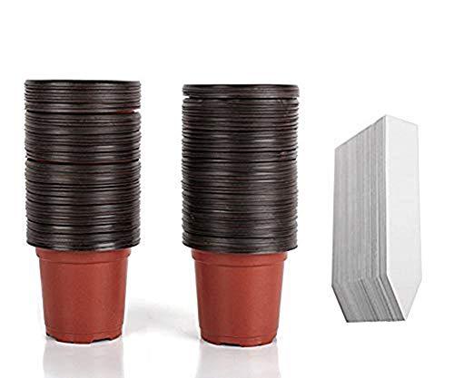 100 unidades de 4 plantas de plástico para guardería, macetas/semillas, macetas, macetas de plantas, contenedor de semillas, con 100 etiquetas de plástico impermeables para jardín de guardería
