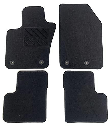 Alfombrillas para Fiat 500X desde 2014 a medida, de moqueta negra, con botones y talonera electrosoldada.