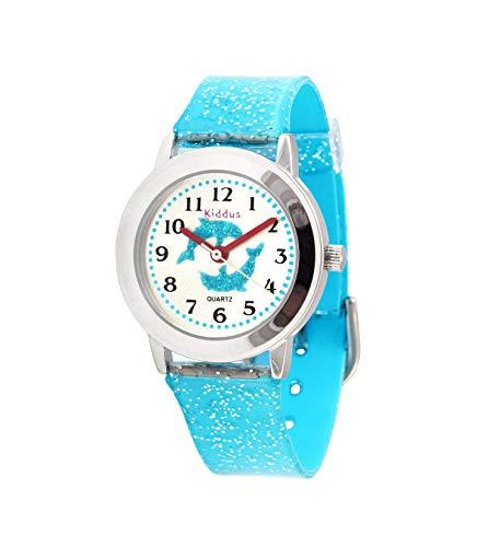 KIDDUS Modische Mädchenuhr für Kinder. Analoge Armbanduhr für Kinder mit Übungen zum Uhrzeit Lernen und hochwertigem japanischen Quarzwerk. Süß, stylisch, elegant und fabelhaft. FAB10 Delphin
