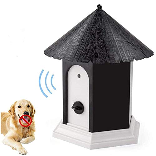 LuckyDarling Anti Barking Device, Ultrasonic Sonic Bark Deterrents, Dog Training Stopping Barking Tool, Outdoor Waterproof Dog Bark Controller in Birdhouse Shape (Black)…