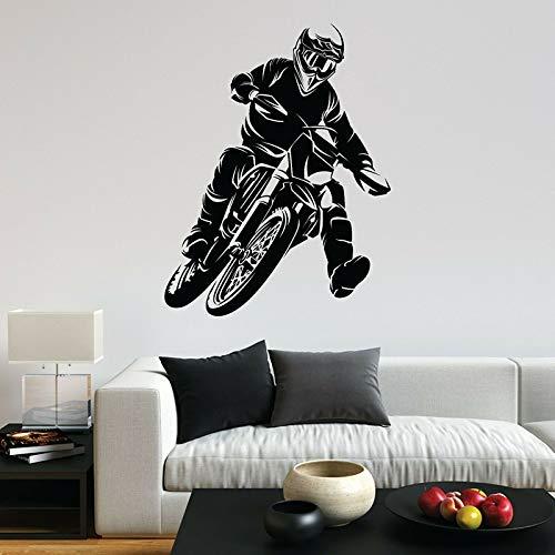 yaonuli Motocross Wandtattoo Motorradfahrer Vinyl Aufkleber Schlafzimmer Home Decor 50X37cm