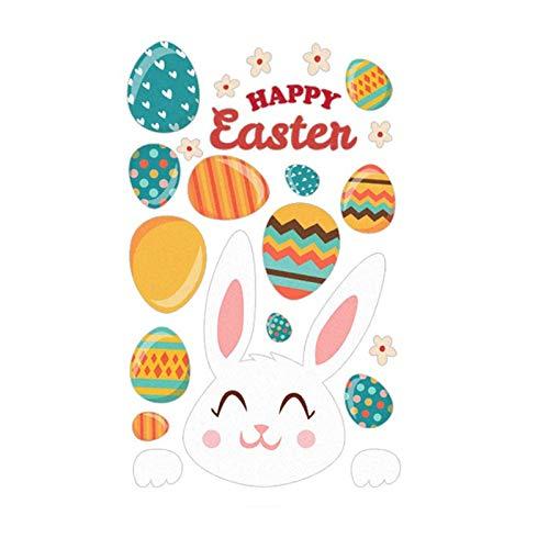 Etiqueta engomada de la pared del huevo del conejito de Pascua para la decoración del hogar Dibujos animados extraíble pegatina para la pared de la pared del jardín Decoración de la ventana Inicio Ofi