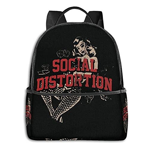 Hdadwy Mochila Escolar de distorsión Social, Mochila básica clásica Unisex Mochila Escolar.