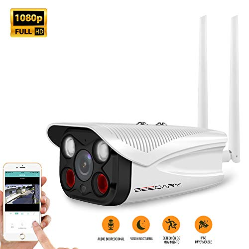 SEEDARY Cámara de Seguridad Exterior con Soporte Impermeable ,Cámara de VIgilancia WiFi 1080P de Antena…