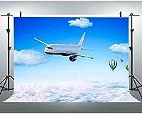 NEW JSCTWCL航空機の背景に青い空と白い雲カラフルな熱気球カスタマイズされた写真の背景メーカープロップ10x7Ft280