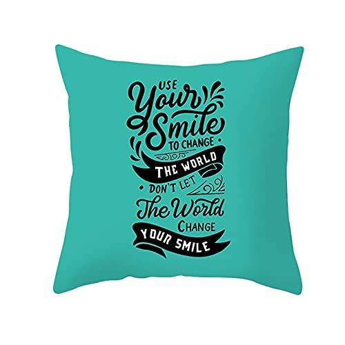 Daesar 1 Funda de Cojin,Cojines Decoracion Sin Relleno,Use Your Smile To Change The World. Fundas Cojines 50x50 Suaves Verde Negro