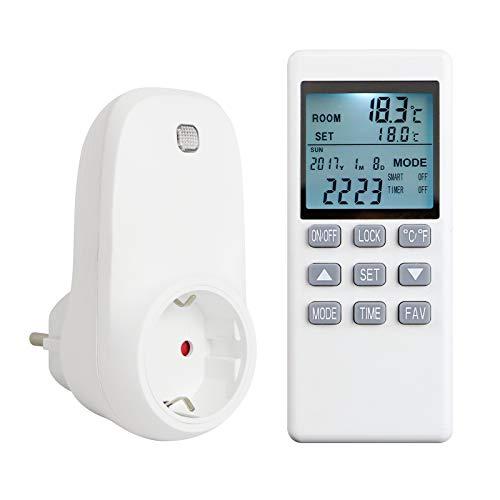 Byecold Thermostat Steckerthermostat Steckdosenthermostat mit LCD Display Fernbedienung Temperaturregler Programmierbar Timer für Infrarotheizung Verschiedene Heizgeräte