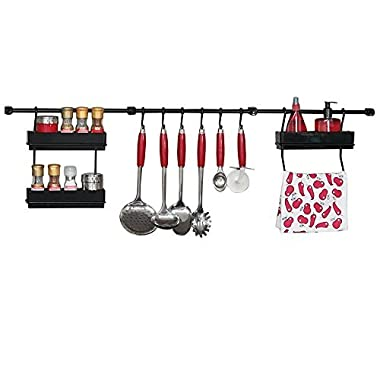 Multipurpose Kitchen Utensil Organizer Holder, Spice Rack, Towel Rack (Black/Black)
