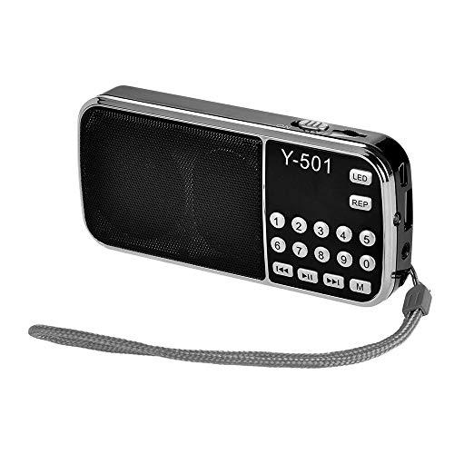 A/N Radio Portátil Salida 3W Power 0,75 Pulgadas Pantalla LED Linterna Soporte Unidad USB Portátil Radio FM Digital para La Cocina De La Oficina En Casa (Color : Black, Size : One Size)
