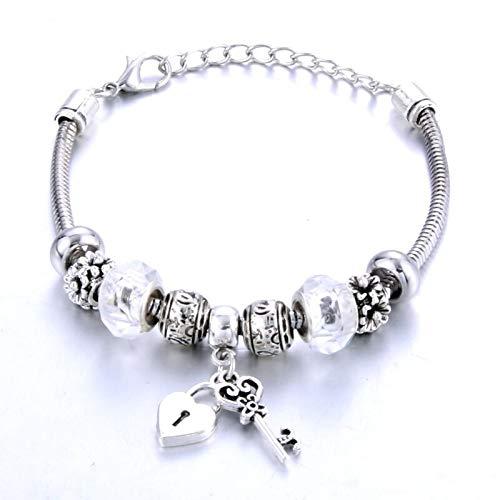 Shangwang 0002WE - Llave de cerradura en forma de 6 colores para mujer, pulsera de cristal y pulsera