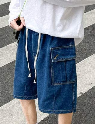 HangNiFang Mens Casual Loose Elatic Waist Tie Belt Denim Shorts with Two Pockets
