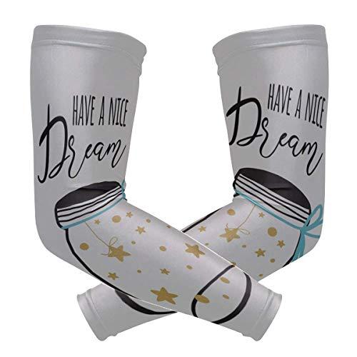 VNASKL Arm-Abdeckung für Männer, gute Nacht, Postkartentext, bedruckt, Eisseide, lange Ärmel für Frauen, schnelltrocknend und atmungsaktiv, für Arme, Unisex, Outdoor, 2 Stück