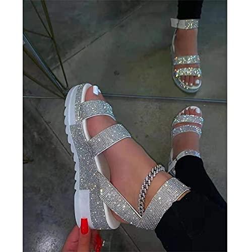 DZQQ 2021 Sandales d'été Mode Strass Chaussures pour Femmes Bout Ouvert Talon Bas Sandales en Plein air Grande Taille 43