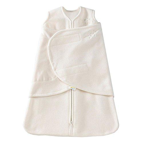HALO Micro Fleece Sleepsack Swaddle, 3-Way Adjustable Wearable Blanket, TOG 3.0, Cream, Small, 3-6 Months