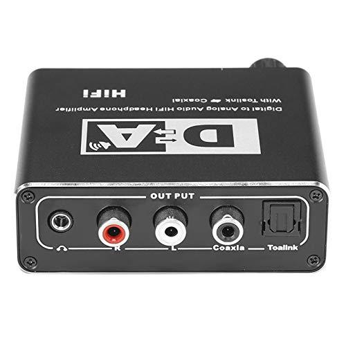 Exliy Convertidor de Audio Digital a analógico RCA Jack de 3,5 mm Cable óptico coaxial Adaptador Decodificador Convertidor de Audio óptico a RCA L/R Convertidor de Audio