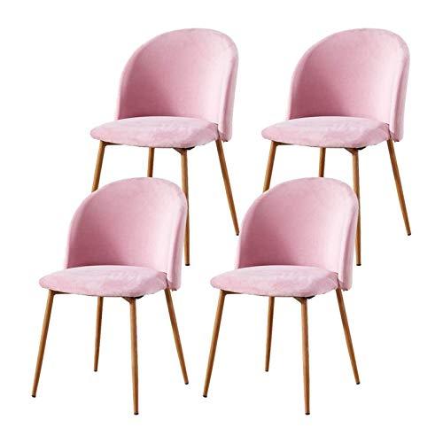 Juego de 2 sillas de terciopelo rosa ocasional for Sillas de comedor Habitación pequeña cocina con tapizado de tela madera metal-como las piernas asiento acolchado Sillas for Oficina de Recepción de c