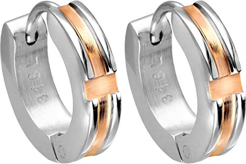 FILANGO - Pendientes de aro de acero quirúrgico, diseño de rayas de color oro rosa