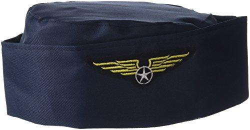 Folat Casquette de déguisement d'hôtesse de l'air Bleu