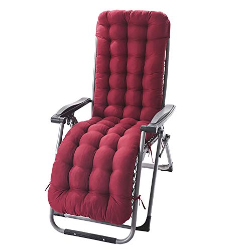 Auflage Gartenliege Einfarbig Rot Polster Kissen Dick Liegenauflagen Doppelt rutschfest Auflagen für Gartenliegen Sonnenliege Liegestuhl