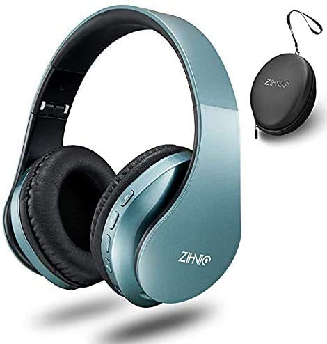 zihnic Wireless Over-Ear Headset with Deep Bass, Bluetooth and Wired Stereo Headphones Buit in Mic for Cell Phone, TV, PC,Soft Earmuffs &Light Weight for Prolonged Wearing (Tin)