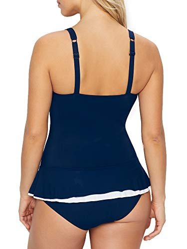 Profile by Gottex Women's Cup Sized Sweetheart Swimdress One Piece Swimsuit, Belle Curve Navy, 14D
