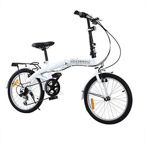 MuGuang Faltbares Fahrrad 20 Zoll 7 Gang Faltmaschine mit LED-Batterielampe der Hinteren Halterung Folding Bike (White) - 6